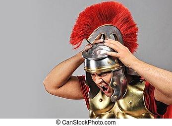 gritando, legionary, soldado