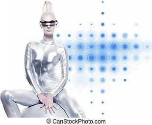 Beautiful cyber woman sitting on a silver ball