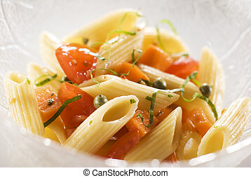 salad - macaroni pasta salad with tomato, pepper and carrot