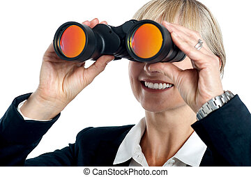 I can vision success - Happy blonde corporate woman tracking...