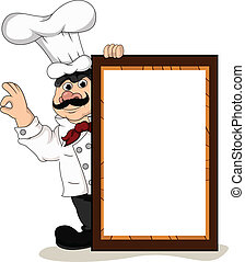 chef cook with blank board