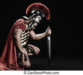 retrato, legionary, soldado