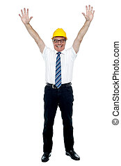 Contemporary construction engineer celebrating his success -...