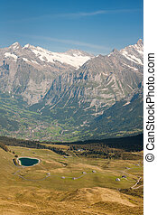 Alps and valley - View on Alps and valley from Mannlichen...