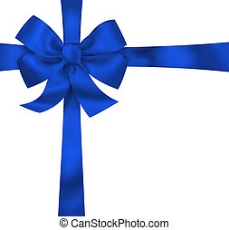 Gift blue ribbon and bow isolated on white background...