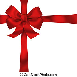 Gift red ribbon and bow isolated on white background...