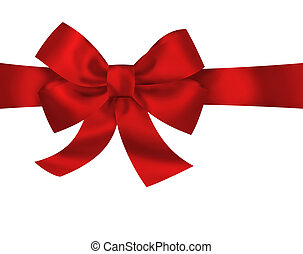 Red gift ribbon bow isolated on white background. Bright...