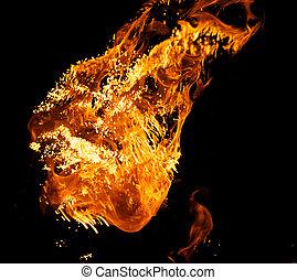 fuego, negro,  explosión, aislado, Plano de fondo