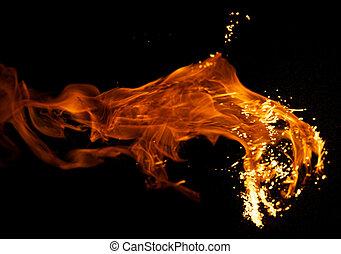 fuego, explosión, aislado, negro, Plano de fondo