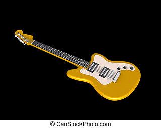 3D model of yellow guitar