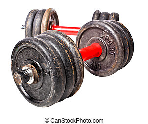 aged dumbbell - aged rusty dumbbell isolated on white...