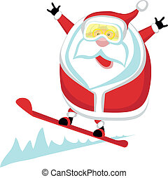 Extreme Santa - Cartoon Santa snowboarding Separate layers...