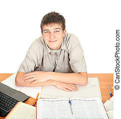 Student on the School Desk. Isolated on the White Background