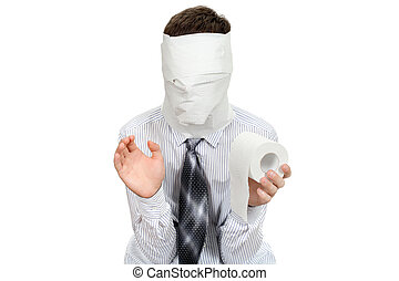 Man With Toilet Paper - Man with no face holds roll of...