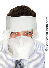 Man Wrapped In Paper - Man in shirt and necktie wrapped his...