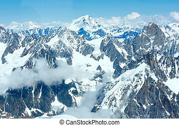 Mont Blanc mountain massif summer landscapeview from...