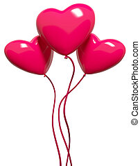 Three red hearts-balloons, isolated on white
