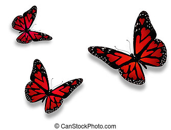Three red butterflies with hearts on wings, isolated on...