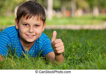 Boy on the summer grass - A portrait of a cheerful boy lying...