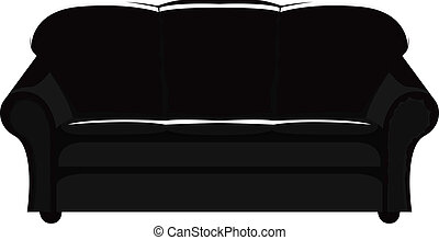 black couch - vector illustration of black couch