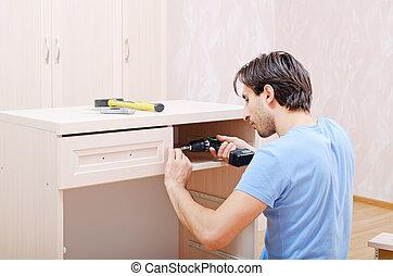 reparador, asamblea, muebles
