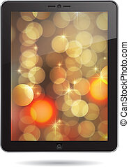 tablet PC with gold abstract background
