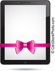 tablet PC with pink bow