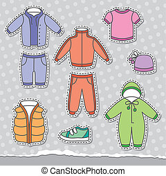 children's clothes - set of children's clothes, vector...