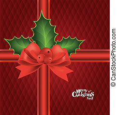 Christmas background with red bow, vector illustration.