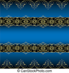 blue background with gold ornament - illustration of the...