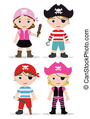 children pirates - cute set of children pirates
