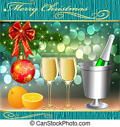 background with balls and glasses of champagne with orange -...
