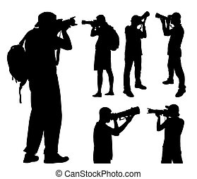 photographers silhouettes with telephoto lens - vector