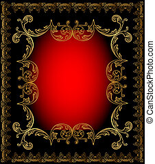 red frame background with gold ornament