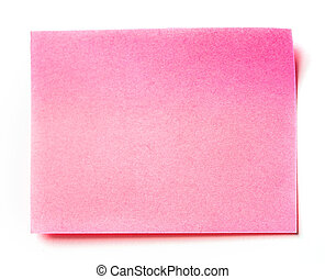 Pink stick note isolated on white background,