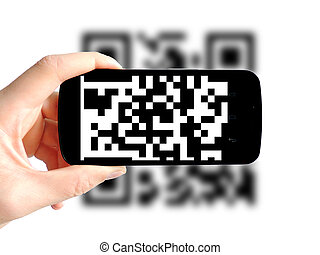 QR Code - QR Code on smartphone isolated on white background...