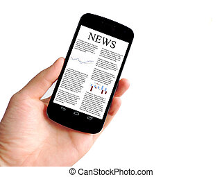 Smart Phone news - Smart Phone with news isolated on white...