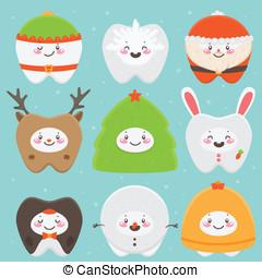 Christmas teeth: elf, snowflake, Santa, deer, Christmas...