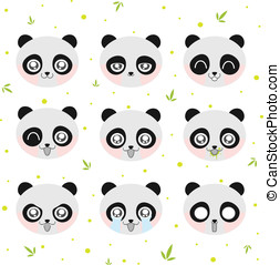 Kawaii smiley panda. Collection smiley