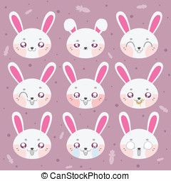 Kawaii smiley bunny. Collection smiley