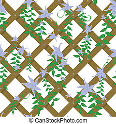 wicker with blue flowers - vector seamless wicker with blue...