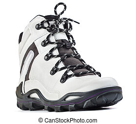 white hiking boot on a white background - white hiking boot...