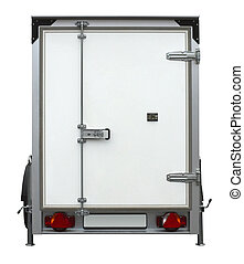 white trailer - a white trailer isolated on white back