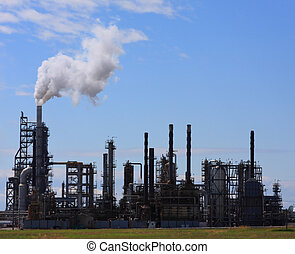 Oil and Gas Refinery - View of an oil refinery from across a...