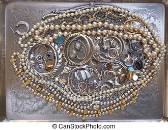 gold and silver jewels, precious background - variety of...