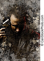 Artistic portrait of dangerous looking man holding a gun