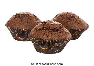 Three chocolate muffins on white