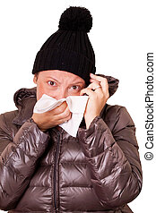 Upset Sick Woman Blowing Her Nose