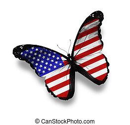 norteamericano, bandera, blanco, aislado, mariposa