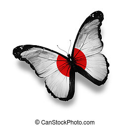 Japanese flag butterfly, isolated on white